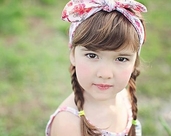 Girls Knot Headband / Pink and White Floral Cotton Knit
