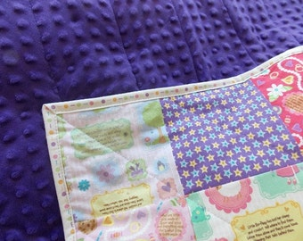 Baby Girl Quilt - Nursery Rhyme Quilt - Purple - Pink - Minky
