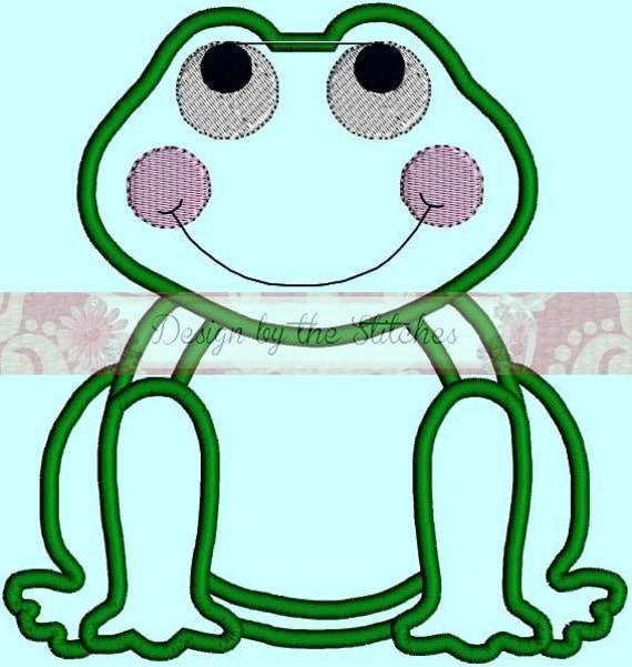 Frog Applique Designs INSTANT DOWNLOAD Embroidery Design Pattern