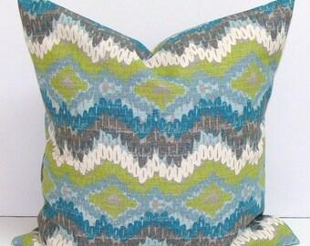 BLUE PILLOW Sale.16x16.Chevron Pillow Cover.Decorative Pillow Cover.Housewares.Blue Pillow.Green Pillow.Chevron.ZigZag..Green.Blue.Cm.Gray