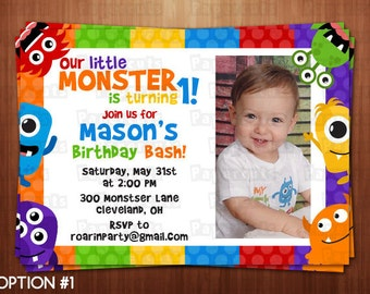 Little Monster Theme Birthday Party Invitation | Blue, Orange, Green, Yellow, Purple & Red | Personalized | Printable DIY Digital File