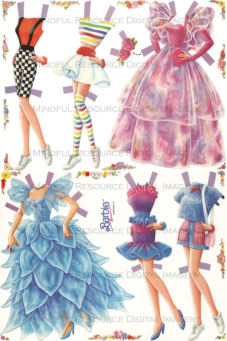 Barbie Retro 80s Paper Doll Fashion Vintage By Mindfulresource