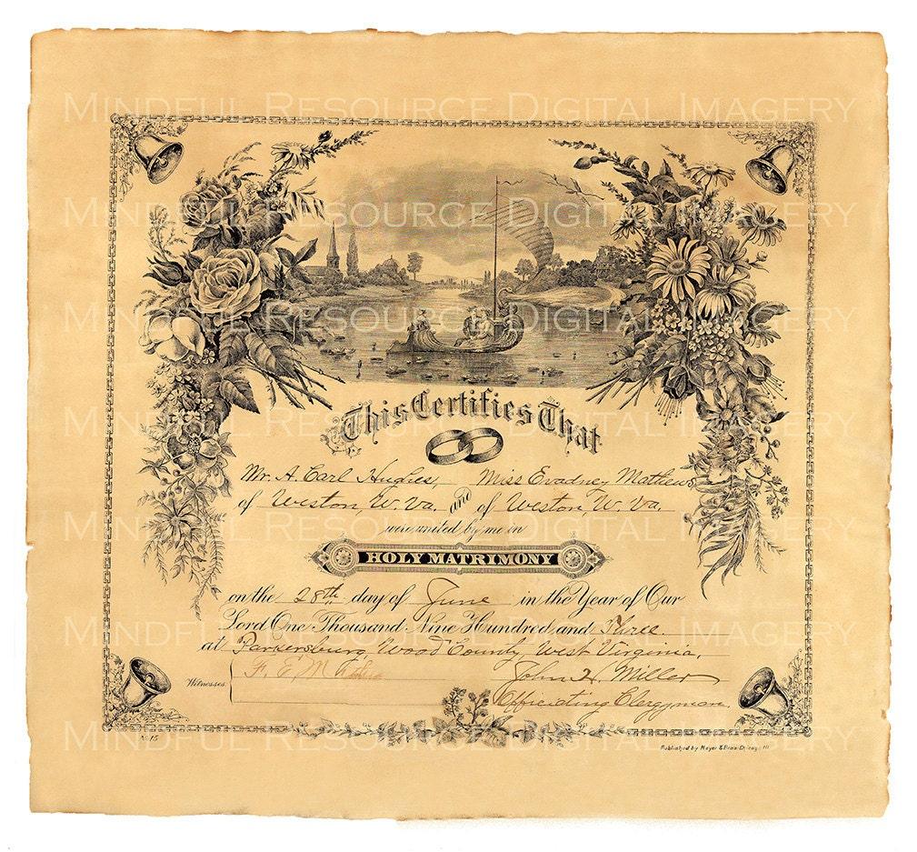 Antique Marriage Certificate 1909 Wedding Ephemera Digital