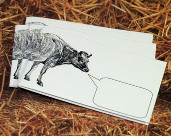 CONVERSANT COW ... Set of 5 . Mini Notecards . Captioned Critters . Handmade Envelopes . Farm Animal . Moo Cow . Bovine . Cute . Gift Cards
