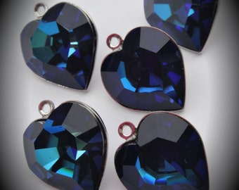 15mm Genuine Silver Plated Swarovski Crystal Bermuda Blue Heart Charms Pendant 4800