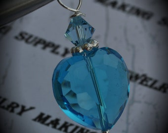 Hand Wire Wrapped Swarovski Crystals Dangle Charm on Silver Plated ball Headpin And Aqua AAA Heart Glass Beads