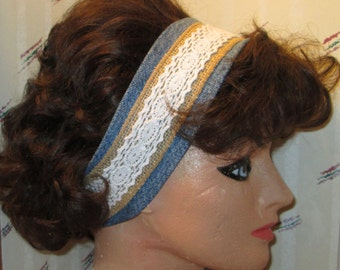 Homemade Denim Burlap and Lace Headband