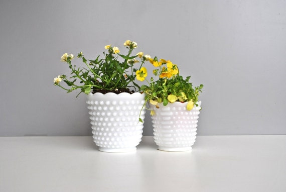 Hobnail Milk Glass Planter  Set / Vase / Bowl - FireKing Oven Ware