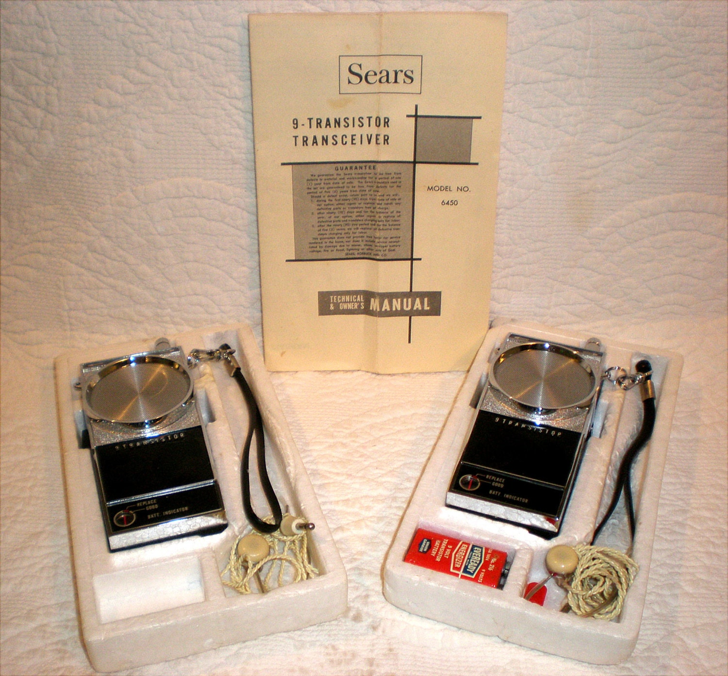 Vintage Sears 9 Transistor Walkie Talkie Set Walkie