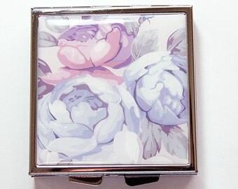 Flower Pill case, Wedding, Square Pill box, Flower Pill box, 4 Sections, Floral pill case, floral pill box, something blue (4135)