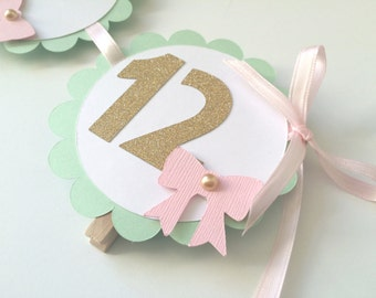 1st Year Photo Banner in MINT, Pink and Gold. Photo Display 1st Birthday. Gold Heart Banner with Photo Clips.Scallop Photo Banner.13 Months