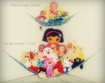 "Hanging Toy Nets - BOGO Set of TWO ""Lovey Corrals"" in Choice of Colors - Stuffed Animal Organizers"