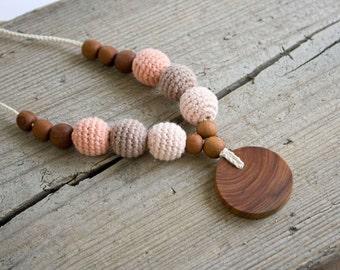 ORGANIC COTTON Nursing Necklace - Babywearing, Breastfeeding, Organic Baby Teether, Applewood - FrejaToys