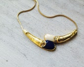 White and Blue Goldtone Thailand Necklace