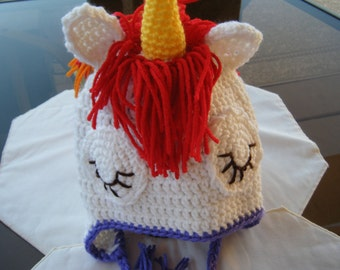 Rainbow Unicorn Baby Hat/Beanie - Handmade By Me