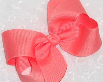 "Coral Hair Bow Coral Baby Bow Coral Easter Bow Medium 4"" Twisted Boutique Hair Bow Coral Hair Clip Toddler Girls Bow Newborn Infant Bow"