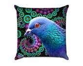 Fractals Pigeon - Original Graphic Sofa Throw Pillow