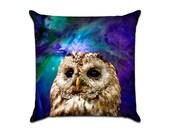 Outer Space Owl 3 - Original Graphic Sofa Throw Pillow