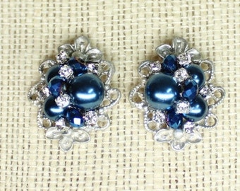 Navy Pearl Stud Earrings- Pearl & Rhinestone- Navy Bridesmaid Earrings- Sapphire Blue Earrings- Navy Blue Bridal Earrings- Brass Boheme