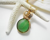 Green Sea Glass Necklace, Cat's Eye Marble, Sea Glass Marble Necklace, Beach Glass Marble, Mystical Moon Designs