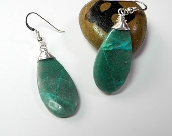 Peruvian Chrysocolla Earrings Wire Wrapped in Silver, Turquoise Chrysocolla, Mystical Moon Designs