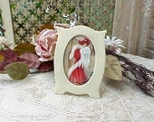 Pretty Little Antique French Ivory Celluloid Picture Frame with Easel Back