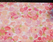 Vintage Bed Sheet Fabric - 30 x 64 Pink and Peach Flowers