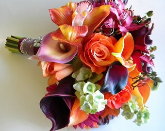 The Rachel Bouquet Real Touch Wedding Flowers in Orange, Sangria, Purple and Green- Fall Wedding