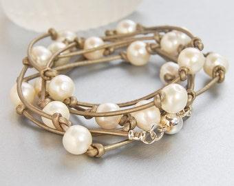 Pearl Wrap Bracelet . Taupe Metallic Leather . Bridal Jewelry