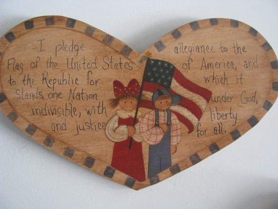 Patriotic, Wall Decor/Decoration, Pledge of Allegiance, Prim, Kid,Flag
