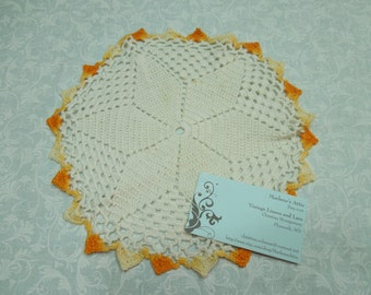 Vintage 9 inch white and orange hand crochet doily for sewing, housewares, handbags, pillows, home decor MarlenesAttic