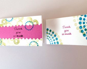 Small Thank you cards / Gift tags / SET of 10 Handmade Hand-stamped with pink, blue and green chartreuse choose your design