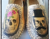 Hand Painted Espadrilles - Till the End Skull Lovers  - Custom Shoes- Hand Painted Shoes