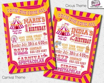 Girls Carnival Birthday Party Invitations