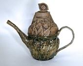 Secret Garden, Decorative Botanical Teapot in Speckled Stoneware & Rustic Green