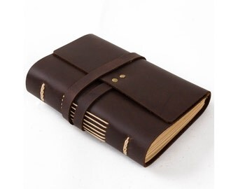 Classic Leather Journal Diary Notebook with Strap A6 Blank Lined Craft Paper Handmade Small Plain Brown with Gift Box