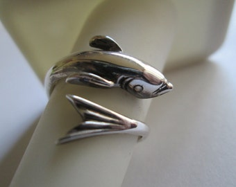 Sterling Silver Flying Fish Ring Sizes 5 - 8