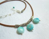 Turquoise Drops Necklace: Sleeping Beauty Mine Turquoise, Hill Tribe Silver, Natural Leather, December Birthstone