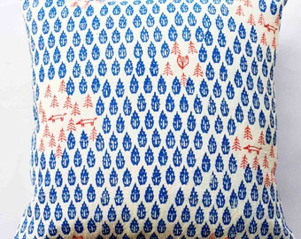 Hand printed Linen Cushion - Flame Forrest (Blue)