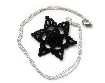 Black Lace Necklace - Pointed Star, Pendant, Egyptian Cotton - Crochet Statement Fashion Gothic Halloween Elegant Gift