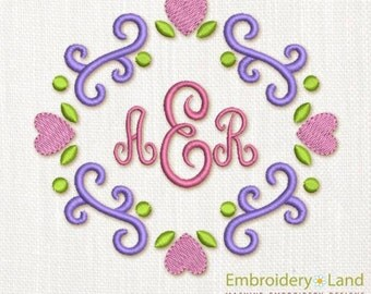 Hearts Elegant Font Frame Machine Embroidery Design FF004