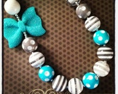 Turquoise, White and Gray Chunky Bead Necklace...Necklaces...Childrens Jewelry...Chunky Beads...Jewelry...Girls Necklaces