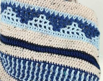 Blue Mountain - Merino Tweed, Double-Sided Blue and White Design, Extra Long, Unisex