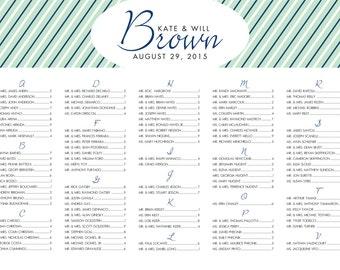 Wedding Seating Chart - Shirt Stripes - Framed Wedding Seating Chart, Seating Assignment, Reception Sign, Wedding Chart, Wedding Table