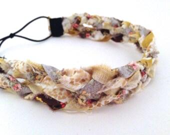 Yellow, Brown, and Cream Braided Fabric Headband