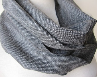 Tweed scarf Anthracite grey black Winter scarf,Men's infinity scarf,Wool fabric scarf,Turkey 2014 winter FASHION women's,men's scarves