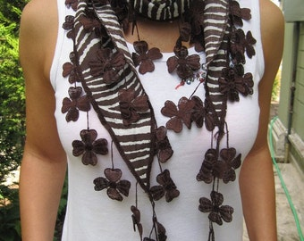 Fringe scarf - Brown white scarves - daisy lace Fringe Scarf -Women's scarves - woman Fashion Accessories- Gift Ideas For Her -woman fashion