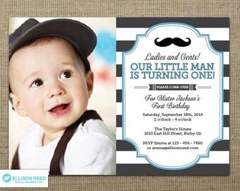 Little Man Invitation - Mustache Invitation - First Birthday Invitation - Mustache Printable - Boy Birthday - Bold Stripes - Little Mister