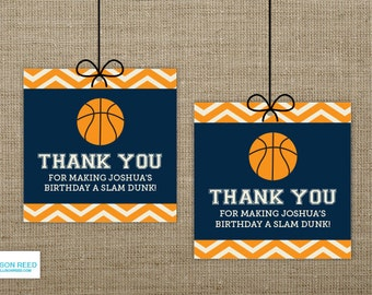 Basketball Favor Tags - Basketball Birthday - Chevron - Basketball Printable - Boy Birthday - Sports Birthday - Printable Party