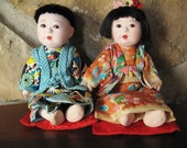 Pair Gofun Dolls, Ichimatsu, Oyster Shell, Jointed, Glass Eyes, Japanese, Real Hair, 1940s, Traditional Silk Costume, Friendship, Clean